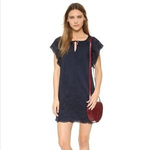 Madewell Embroidered Eyelet Moontide Navy Dress